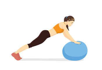 Woman workout with fitness ball in ball triceps extension posture. Illustration about exercise with exercise equipment.