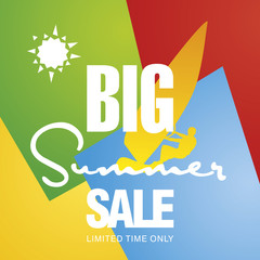Big summer sale windsurf board sun card color background vector