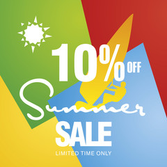Summer sale 10 percent off discount offer windsurf board sun card color background vector