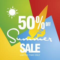 Summer sale 50 percent off discount offer windsurf board sun card color background vector