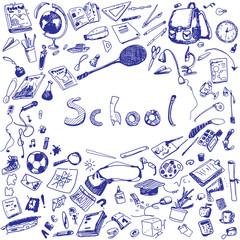 Doodle illustration of school objects. Blue pen. Outlined illustration of design elements.