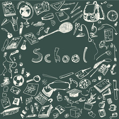 Doodle illustration of school objects. Chalk outlined illustration of design elements.