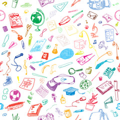 Hand drawn doodle school objects seamless pattern. Colored objects, white background. Learning, study, poster, flyer, design.