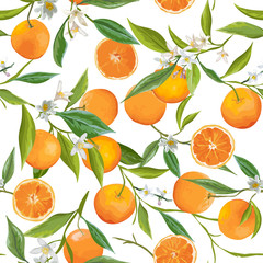 Seamless Pattern. Orange Fruits Background. Floral Pattern