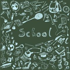 Doodle illustration of school objects. Blue chalk outlined illustration of design elements, blackboard background.
