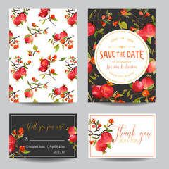 Save the Date Card. Tropical Pomegranates, Flowers and Leaves
