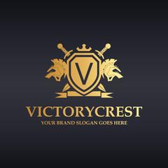 Victory logo. Knight logo. V letter logo