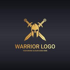 Warrior logo. Helmet and cross swords.