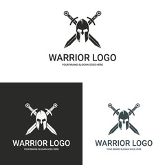 Warrior logo. Helmet and cross swords. 3 versions