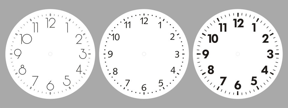Clock dial vector. Time indication.