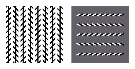 Zoellner optical illusion. In the left figure the vertical black lines seem to be unparallel, but in reality they are parallel. In the right figure the horizontal brick lines are also parallel.