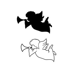 Angel with pipe silhouette and line art Icons set