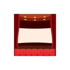 Scene cinema icon in cartoon style isolated on white background. Watching movie symbol