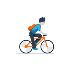 Man in casual dress cycling, student commuting by bicycle, daily riding by bike to business, isolated vector flat design illustration