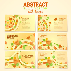 Visit cards with autumn leaves