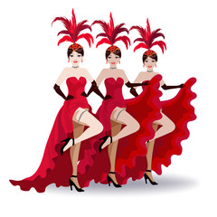 French cancan dancers of the Moulin Rouge. They have hats with feathers and red theatrical costumes.