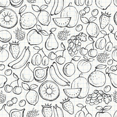 Fruit seamless pattern. Hand drawn vector background