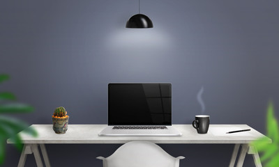 Wall Mural - Work on laptop computer. Clean scene of the desk in office or room. Blank screen for mockup.