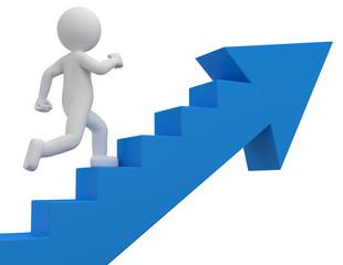 Erfolgreiches 3d Männchen rennt durch seinen Erfolg die Aufstiegstreppe nach oben, und wird befördert.