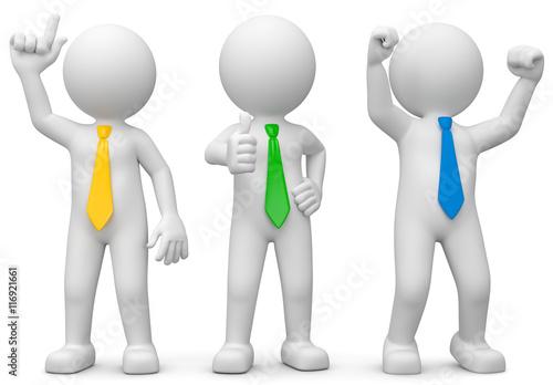 3d Männchen mit Idee, Zustimmung und Erfolg\