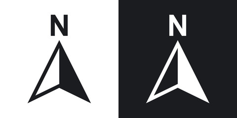Vector north direction compass icon. Two-tone version on black and white background Wall mural