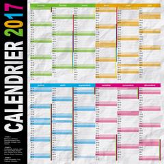 calendrier 2017 français multicolore