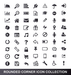 Rounded corner grey gradient universal icons for web and mobile.