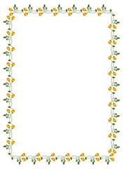 Vertical frame with yellow roses. Vector clip art.