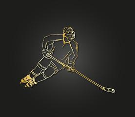 hockey illustration gold