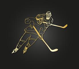 hockey match illustration gold