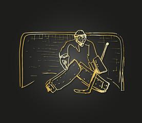 hockey goalkeeper gold