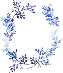 Wreath of blue flowers, leaves and branches. Greeting card or invitation. Hand drawn watercolor illustration.