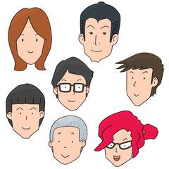 vector set of cartoon faces