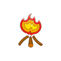 Campfire icon in cartoon style on a white background