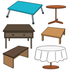 vector set of desks