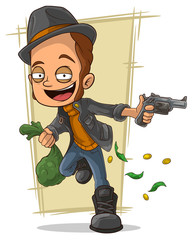 Cartoon cool robber with gun and money