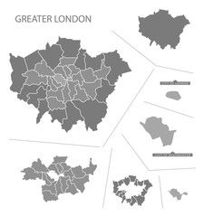 Greater London England Map grey