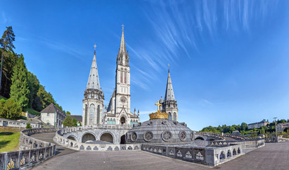 Panoramic view of Rosary Basilica in Lourdes