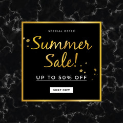 Summer sale design for banner or poster, with marble texture and gold detail