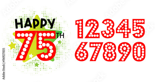 Happy 75th Birthday and numbers Stock image and royaltyfree vector