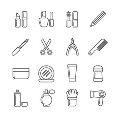 Cosmetics and beauty vector thin line icons