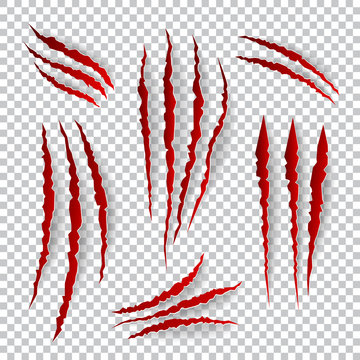 Realistic claw scratches. Vector set on plaid background
