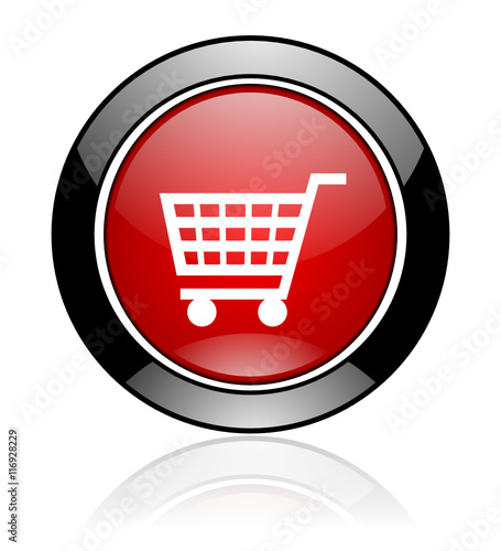 Modern design red and black glossy round web cart vector icon