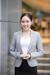 businesswoman smile happily in honkong