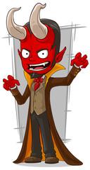 Cartoon red devil in brown cape