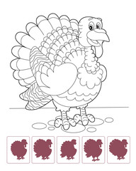 Cartoon turkey - coloring page with shadow matching - isolated - illustration for the children