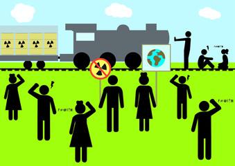 Illustration Atommüll; entsorgen; Protest; demonstrieren; Gleise, besetzen; Bahn; Transport