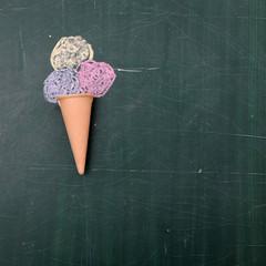Ice cream drawing on chalkboard