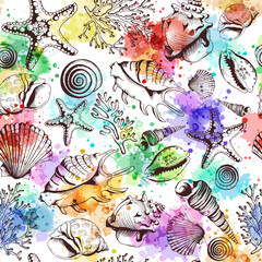 Seamless pattern with seashells and watercolor spots
