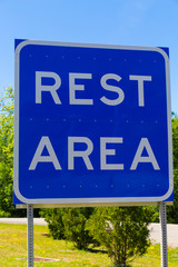 Large Blue Rest Area Sign